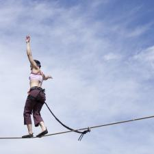 This woman on a tightrope symbolizes that hearing and balance are related.