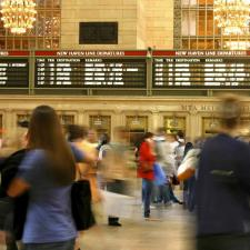 A busy train station can be overwhelmingly noisy for someone with a new hearing aid.