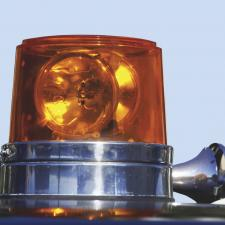Safety light on top of ambulance.