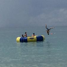 Ocean trampoline at camp for kids with hearing loss