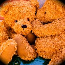 Teddy bears whispering about hearing loss in children.