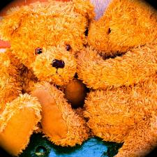 Two teddy bears discussing loud toys that could cause childhood hearing loss.